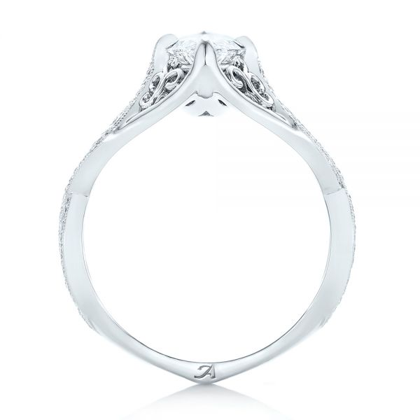 Platinum Custom Marquise Diamond Engagement Ring - Front View -  102731