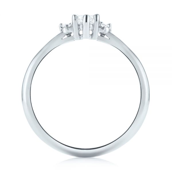 14k White Gold Custom Marquise Diamond Engagement Ring - Front View -