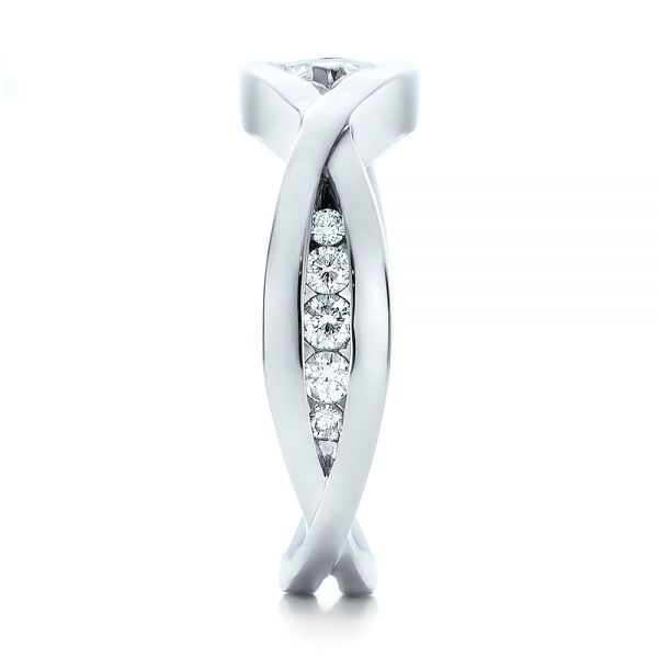 14k White Gold Custom Marquise Diamond Engagement Ring - Side View -