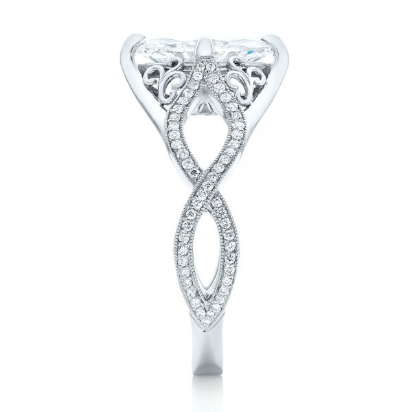 Platinum Custom Marquise Diamond Engagement Ring - Side View -  102731