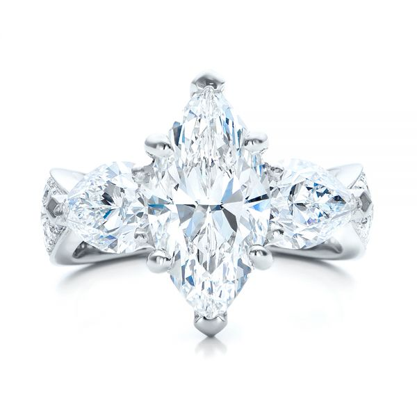 Platinum Custom Marquise Diamond Engagement Ring - Top View -