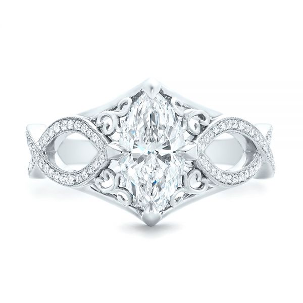 Platinum Custom Marquise Diamond Engagement Ring - Top View -  102731