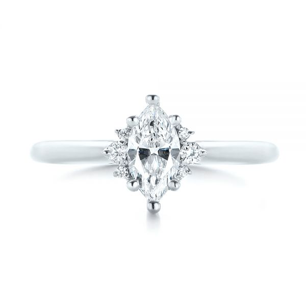 14k White Gold Custom Marquise Diamond Engagement Ring - Top View -