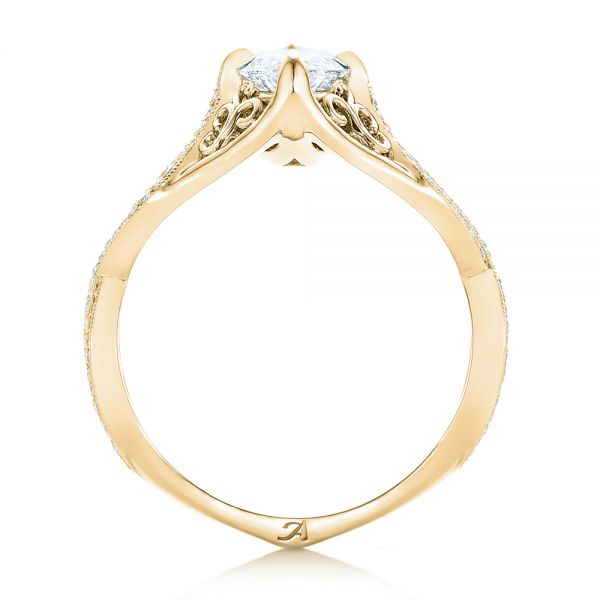 18k Yellow Gold 18k Yellow Gold Custom Marquise Diamond Engagement Ring - Front View -