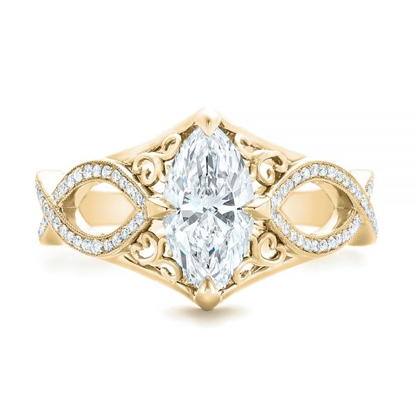 18k Yellow Gold 18k Yellow Gold Custom Marquise Diamond Engagement Ring - Top View -