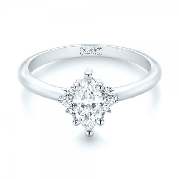Custom Marquise Diamond Engagement Ring - Laying View