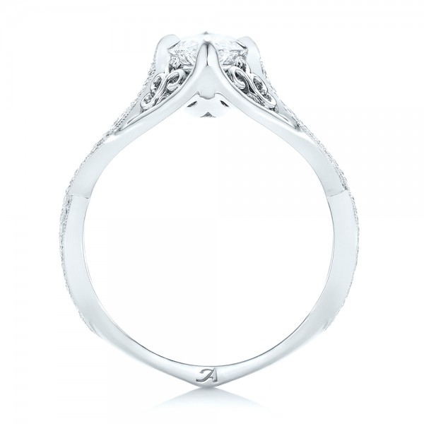 Custom Marquise Diamond Engagement Ring - Finger Through View