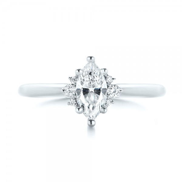 Custom Marquise Diamond Engagement Ring - Top View