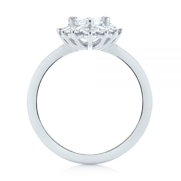 Platinum Custom Marquise Diamond Halo Engagement Ring - Front View -  104783