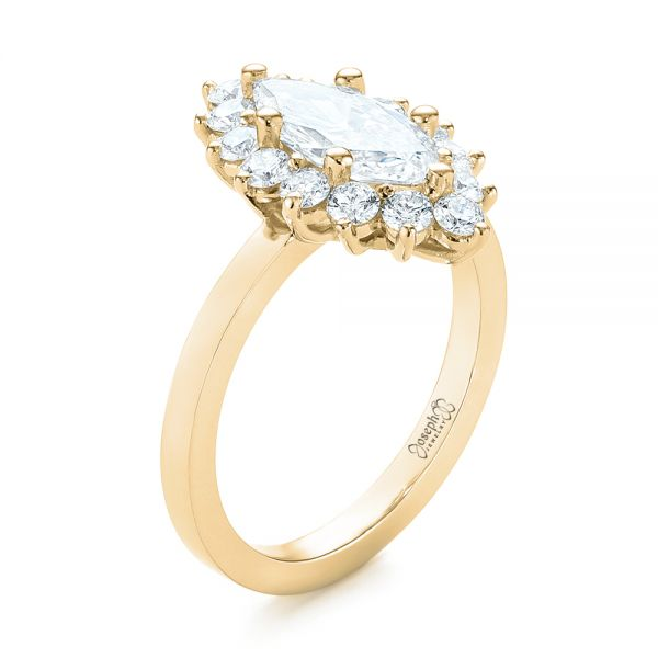 14K Yellow Gold Custom Marquise Diamond Halo Engagement Ring - Three-Quarter View -  104783 - Thumbnail