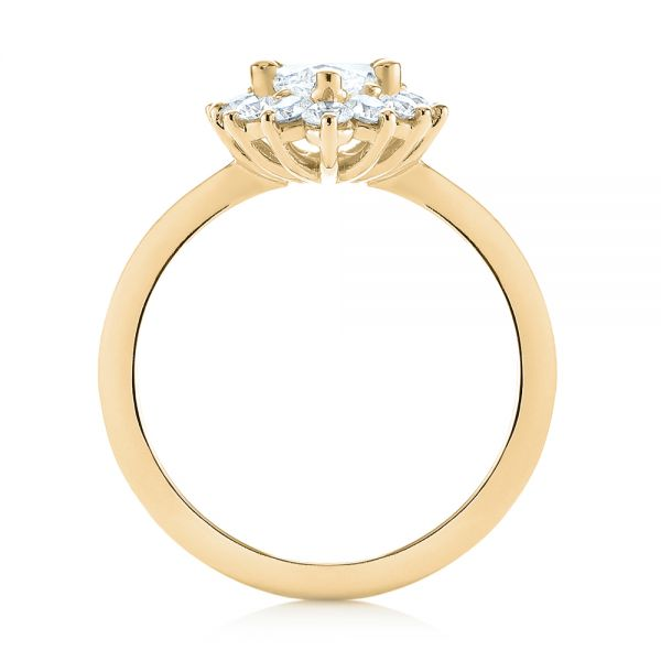 14K Yellow Gold Custom Marquise Diamond Halo Engagement Ring - Front View -  104783 - Thumbnail