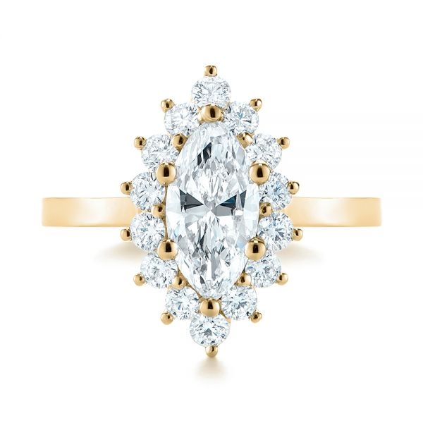 14K Yellow Gold Custom Marquise Diamond Halo Engagement Ring - Top View -  104783 - Thumbnail