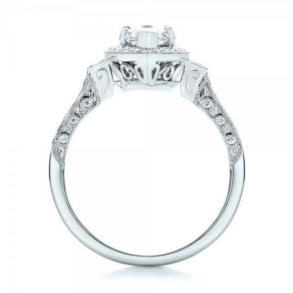 Custom Marquise Diamond Halo Engagement Ring - Finger Through View