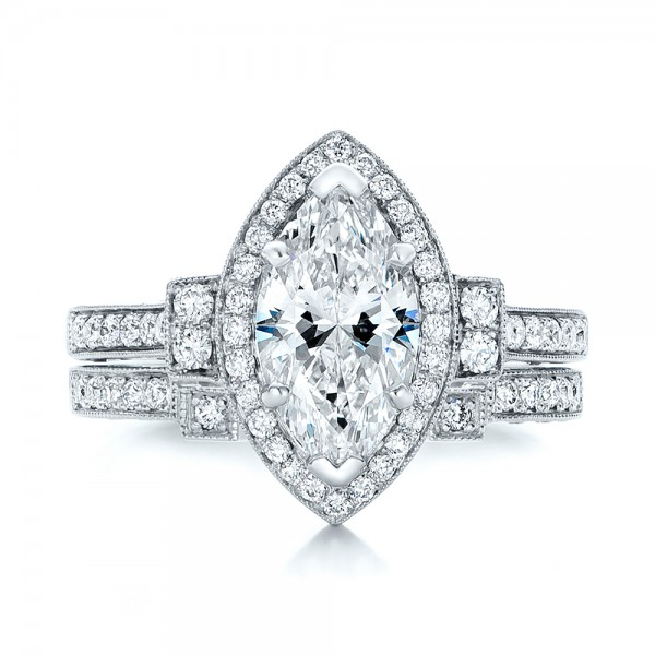 Custom Marquise Diamond Halo Engagement Ring - Top View