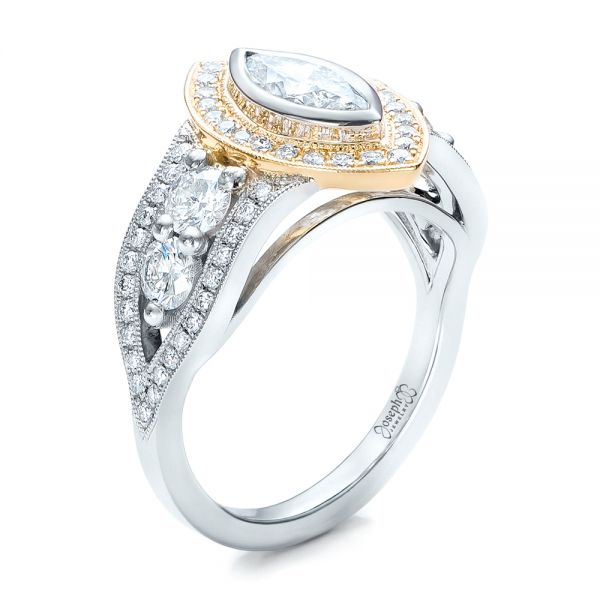 Custom Marquise Diamond Two-Tone Engagement Ring