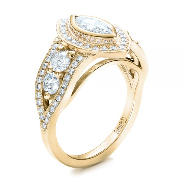 Custom Marquise Diamond Two-Tone Engagement Ring - Image