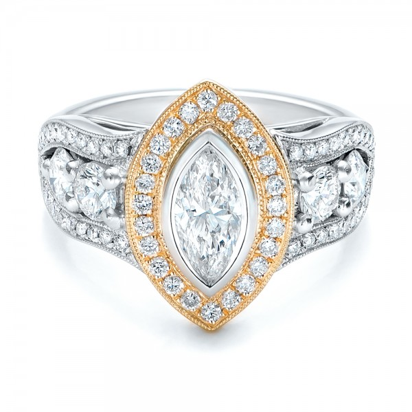 Custom Marquise Diamond Two-Tone Engagement Ring - Laying View