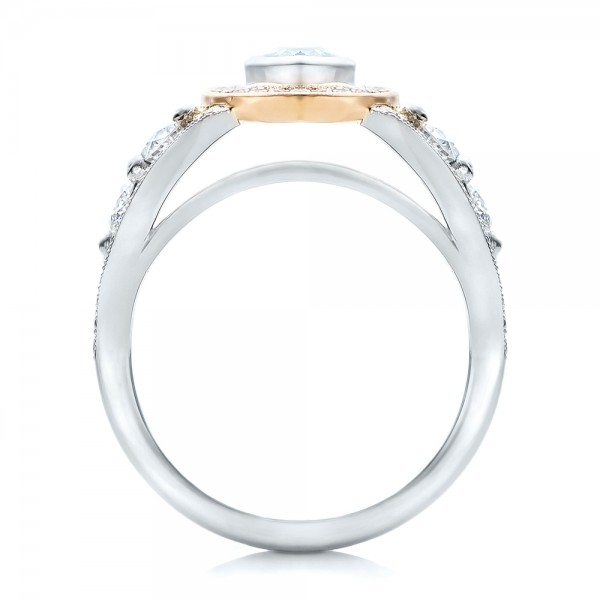 Custom Marquise Diamond Two-Tone Engagement Ring - Finger Through View