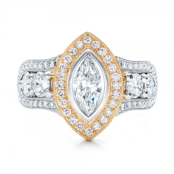 Custom Marquise Diamond Two-Tone Engagement Ring - Top View