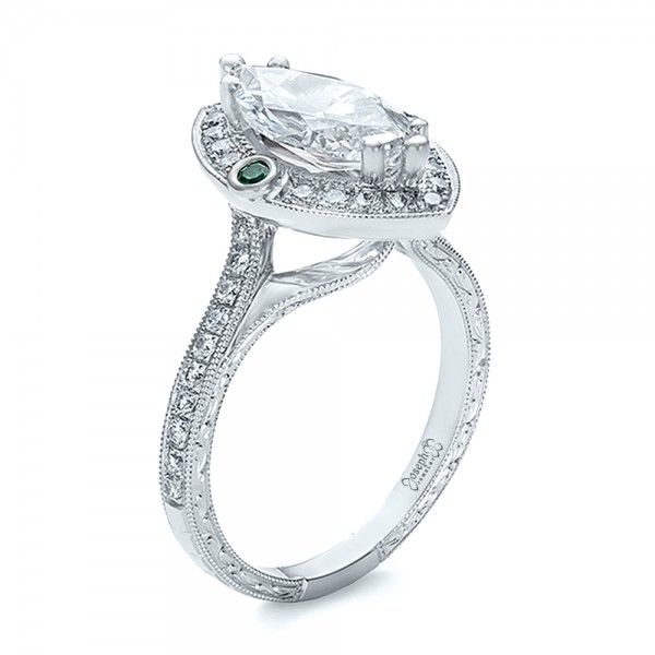 Custom Marquise Diamond with Halo and Emerald Engagement Ring