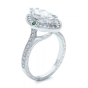 Custom Marquise Diamond with Halo and Emerald Engagement Ring - Image