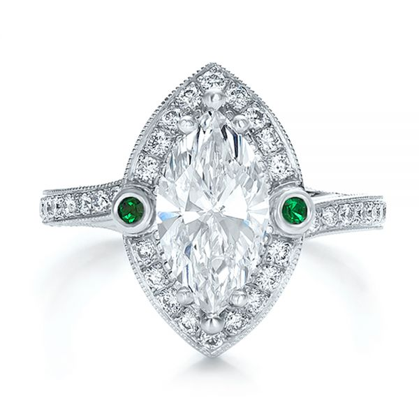 373605dd84748 Custom Marquise Diamond with Halo and Emerald Engagement Ring