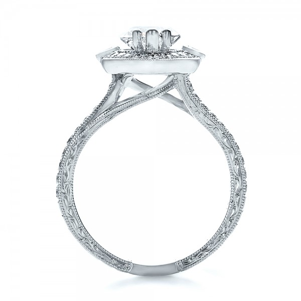 Custom Marquise Diamond with Halo and Emerald Engagement Ring - Front View -  100636 - Thumbnail