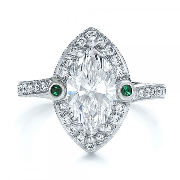 Custom Marquise Diamond with Halo and Emerald Engagement Ring - Top View -  100636 - Thumbnail