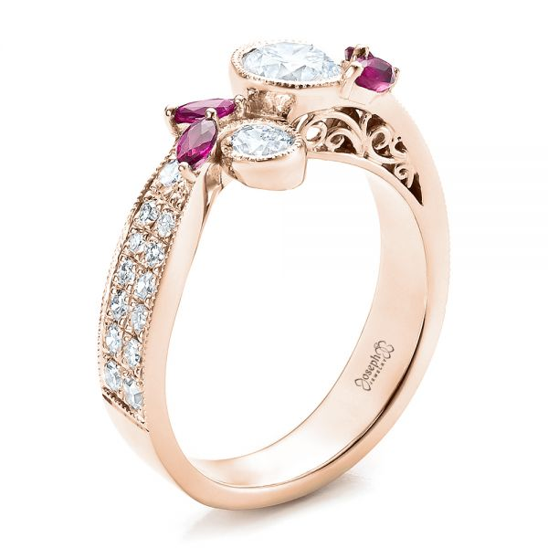 18k Rose Gold Custom Marquise Ruby And Diamond Engagement