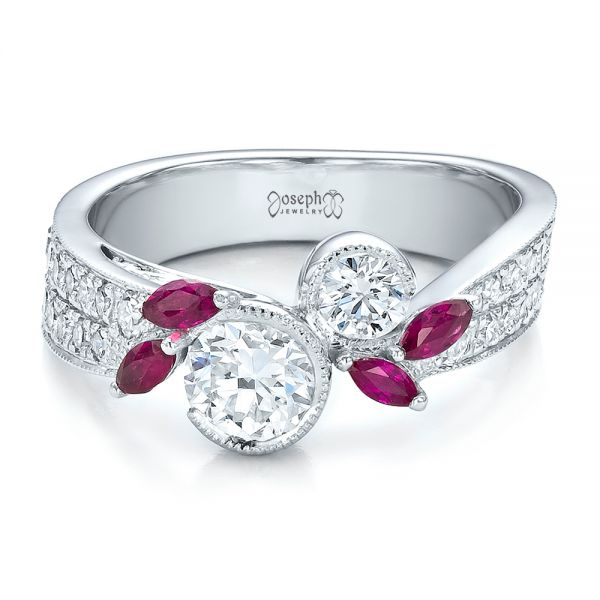 14k White Gold Custom Marquise Ruby And Diamond Engagement Ring - Flat View -