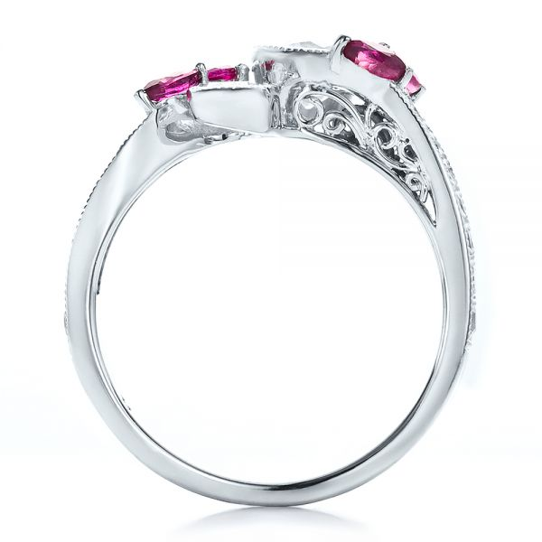 14k White Gold Custom Marquise Ruby And Diamond Engagement Ring - Front View -