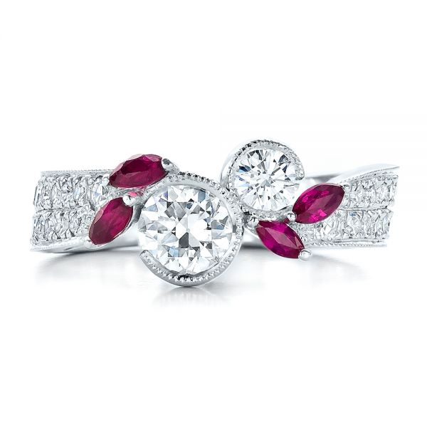 14k White Gold Custom Marquise Ruby And Diamond Engagement Ring - Top View -