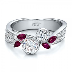 Custom Marquise Ruby and Diamond Engagement Ring