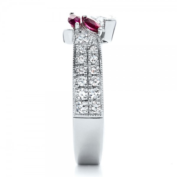 Custom Marquise Ruby and Diamond Engagement Ring - Side View