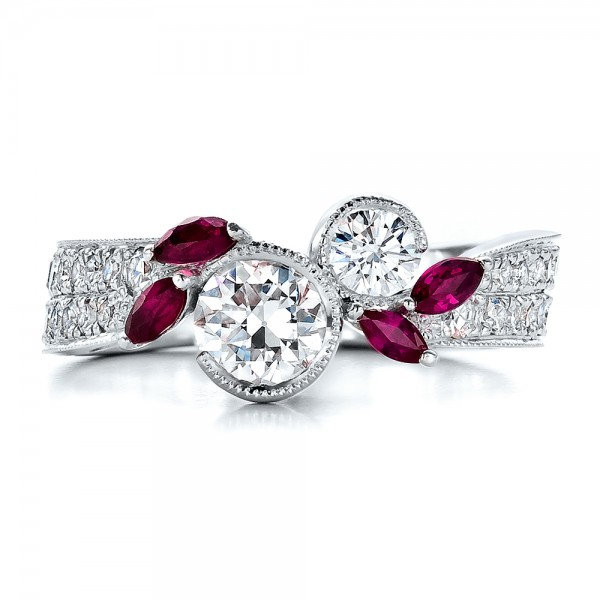 Custom Marquise Ruby and Diamond Engagement Ring - Top View