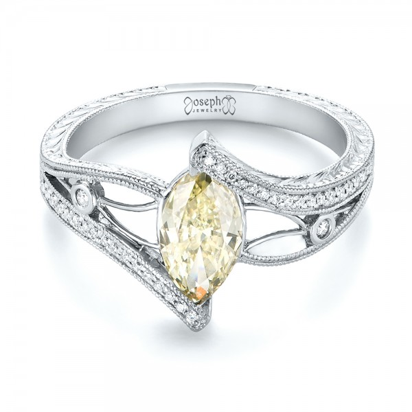 Custom Marquise Yellow and White Diamond Engagement Ring - Laying View