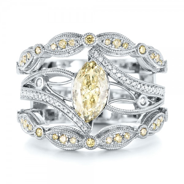 Custom Marquise Yellow And White Diamond Engagement Ring