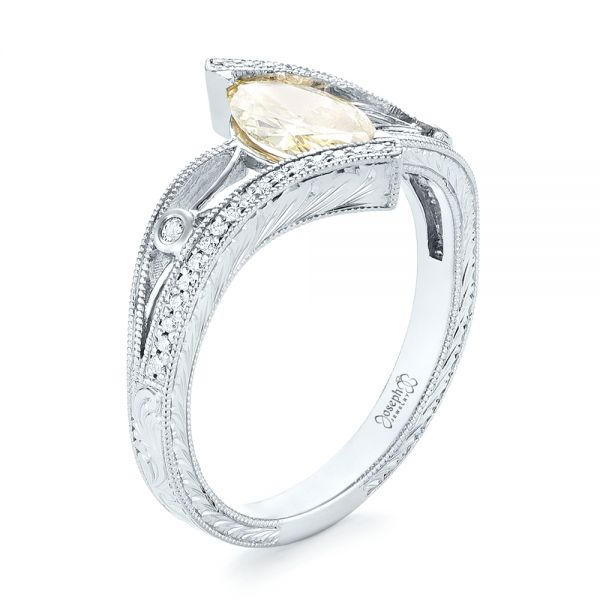 Custom Marquise Yellow and White Diamond Engagement Ring - Image