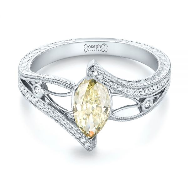 Custom Marquise Yellow and White Diamond Engagement Ring - Flat View -  103391 - Thumbnail