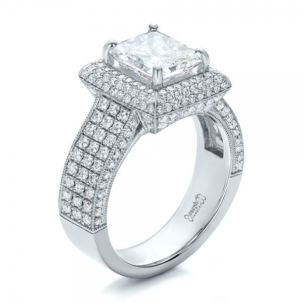 Custom Filigree And Diamond Engagement Ring #100705
