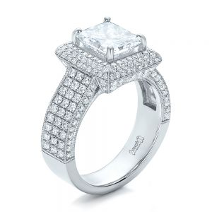 Custom Micro-Pave Halo Diamond Engagement Ring - Image