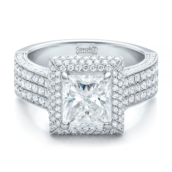 Platinum Custom Micro-pave Halo Diamond Engagement Ring - Flat View -
