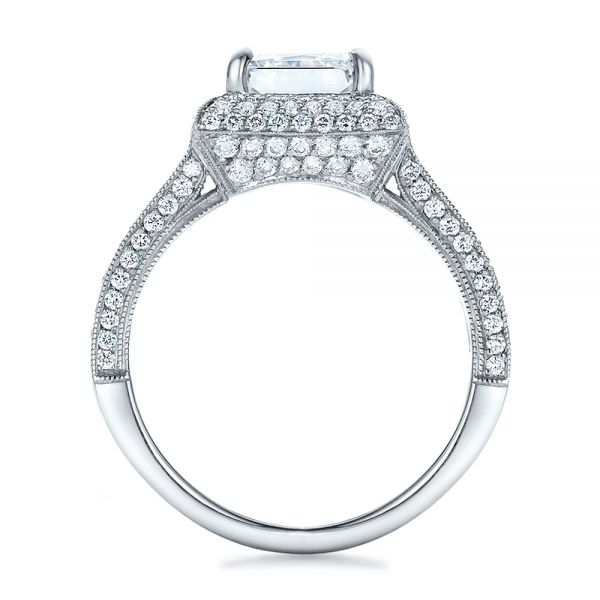 Platinum Custom Micro-pave Halo Diamond Engagement Ring - Front View -