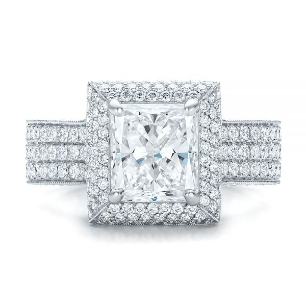 Platinum Custom Micro-pave Halo Diamond Engagement Ring - Top View -