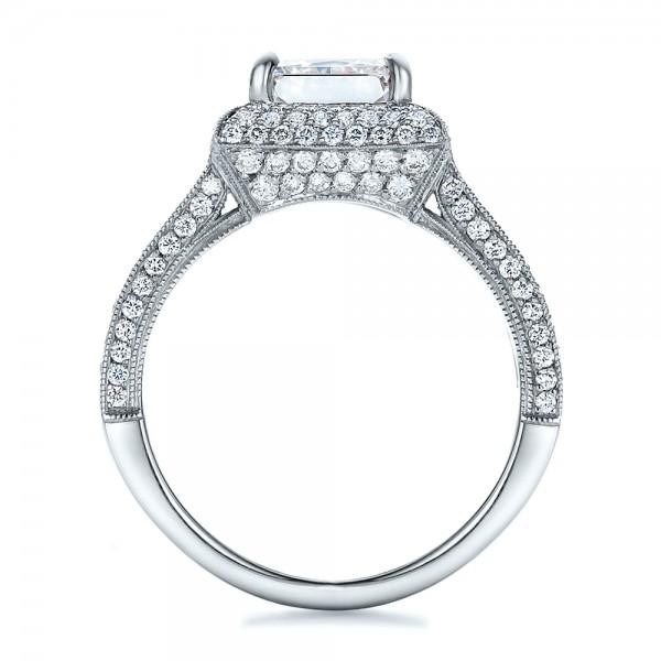 Custom Micro-Pave Halo Diamond Engagement Ring - Finger Through View