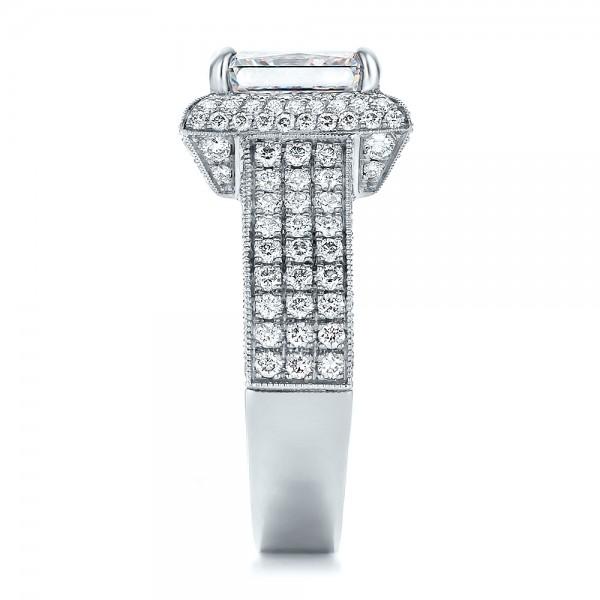 Custom Micro-Pave Halo Diamond Engagement Ring - Side View
