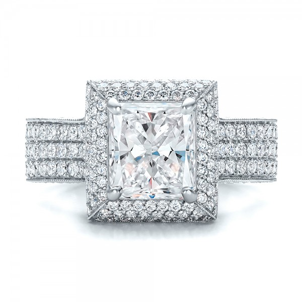 Custom Micro-Pave Halo Diamond Engagement Ring - Top View