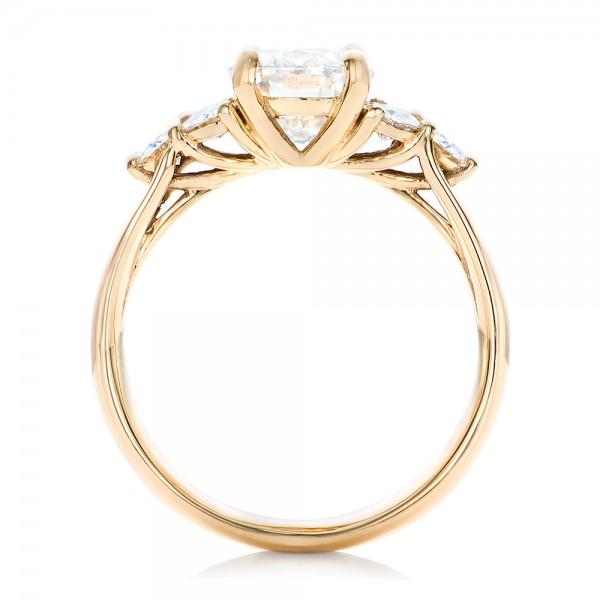 Custom Moissanite Engagement Ring - Finger Through View