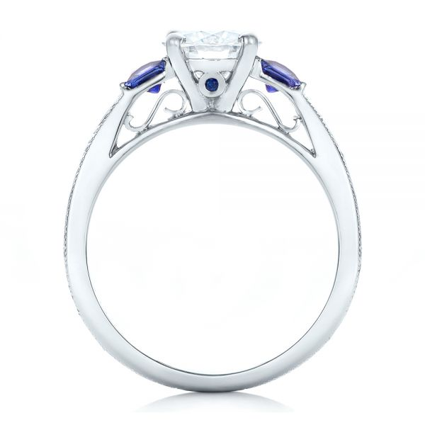 Custom Moissanite and Blue Sapphire Engagement Ring - Front View -  102128 - Thumbnail