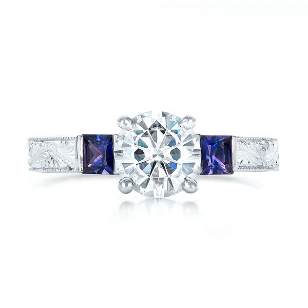 Custom Moissanite and Blue Sapphire Engagement Ring - Top View -  102128 - Thumbnail